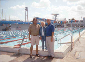 Rob with Steve Graves, executive director of the World Aquatic Baby Congress and Virginia Hunt Newman, Hall of Fame infant swimming pioneer, on May 11, 2001.