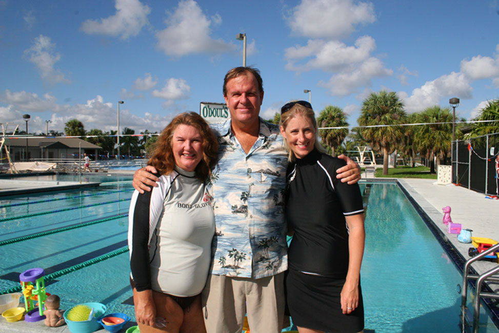 Rob and Kathy with Nina who trained in our holistic/gentle approach to teaching babies to swim. She participated for 4 weeks in the fall of 2007, at our Boca Raton site. Nina is from London and Brighton, England